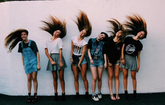 beautiful girls shaking hair