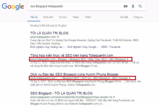 Sửa breadcumbs hiển thị trên Google theo Label (Nhãn) cho Blogspot