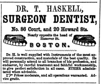 1851- Dr T Haskell, Surgeon Dentist