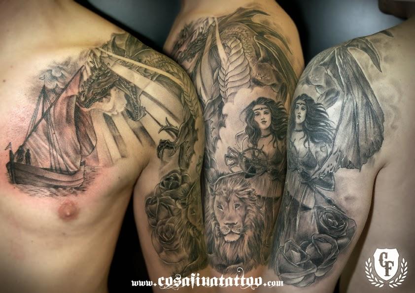 Cosafina Tattoo Carlos Art Studio Tatuaje Blanco Negro Grises