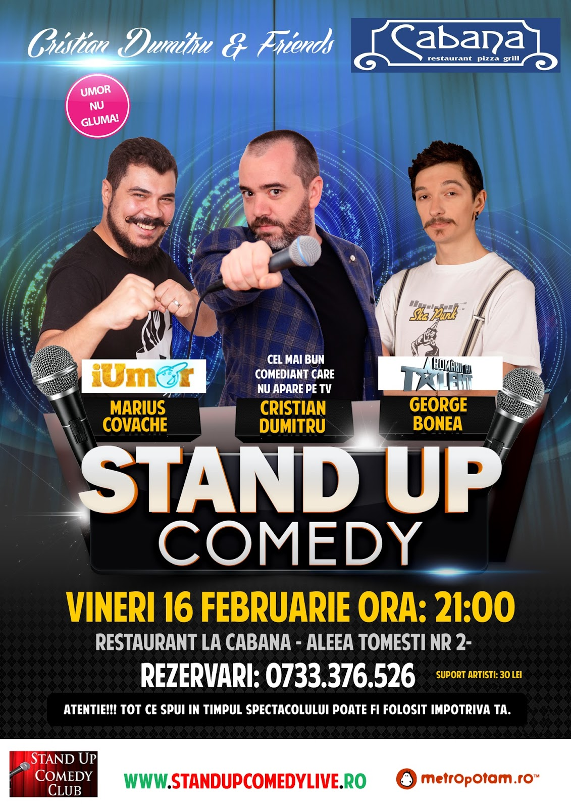 Stand-Up Comedy Vineri 16 Feb. Bucuresti 2018