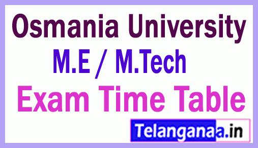 Osmania University M.E / M.Tech 1st Sem  Exam TimeTable