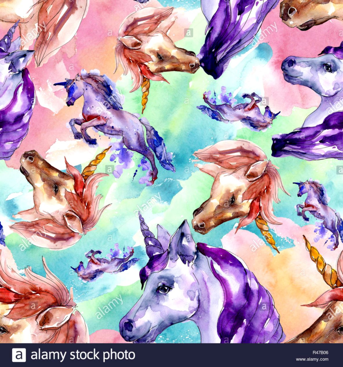 Cute unicorn horse in a watercolor style isolated Seamless