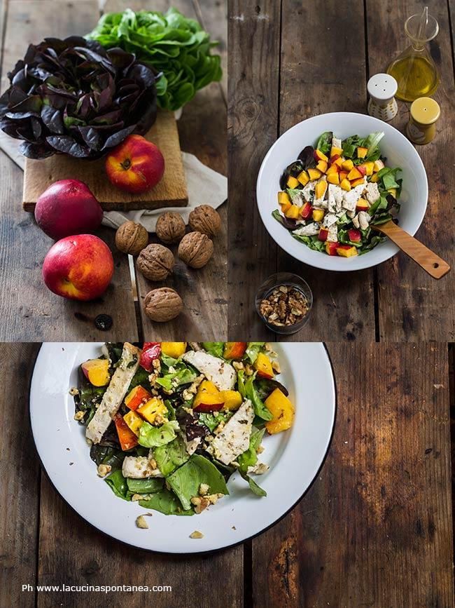 Immagine insalata mista di pollo e pesche nei vari passaggi della preparzazione