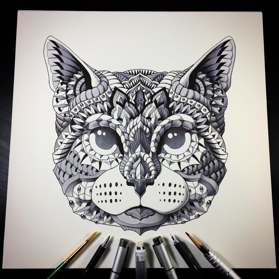 04-Cat-Head-Ben-Kwok-bioworkz-Animals-Drawings-Detailed-with-Elaborate-Geometric-Shapes-www-designstack-co