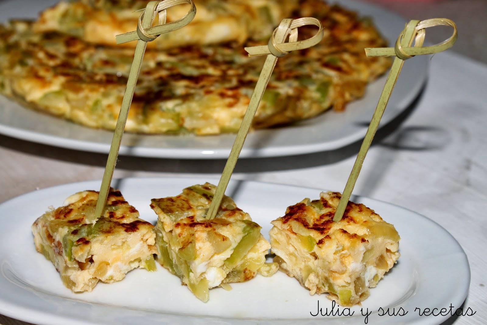 Tortilla de calabacín con cebolla. Julia y sus recetas