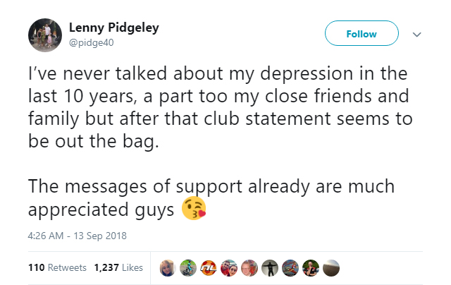 Former Farnborough goalkeeper Lenny Pidgeley has been battling depression for the past 10 years