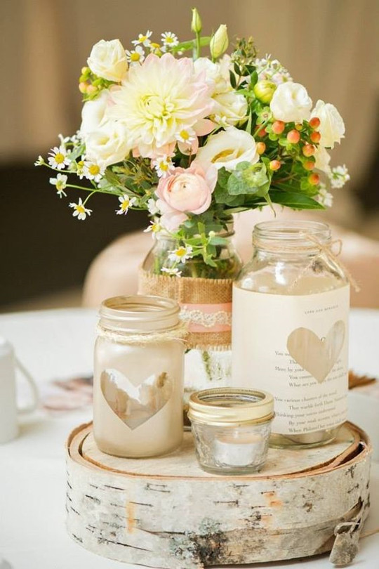 rustic Mason Jars Vases wedding Centerpiece with colored water