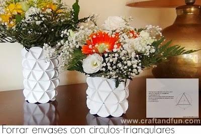 Como forrar envases con Circulos Triangulares de Carton