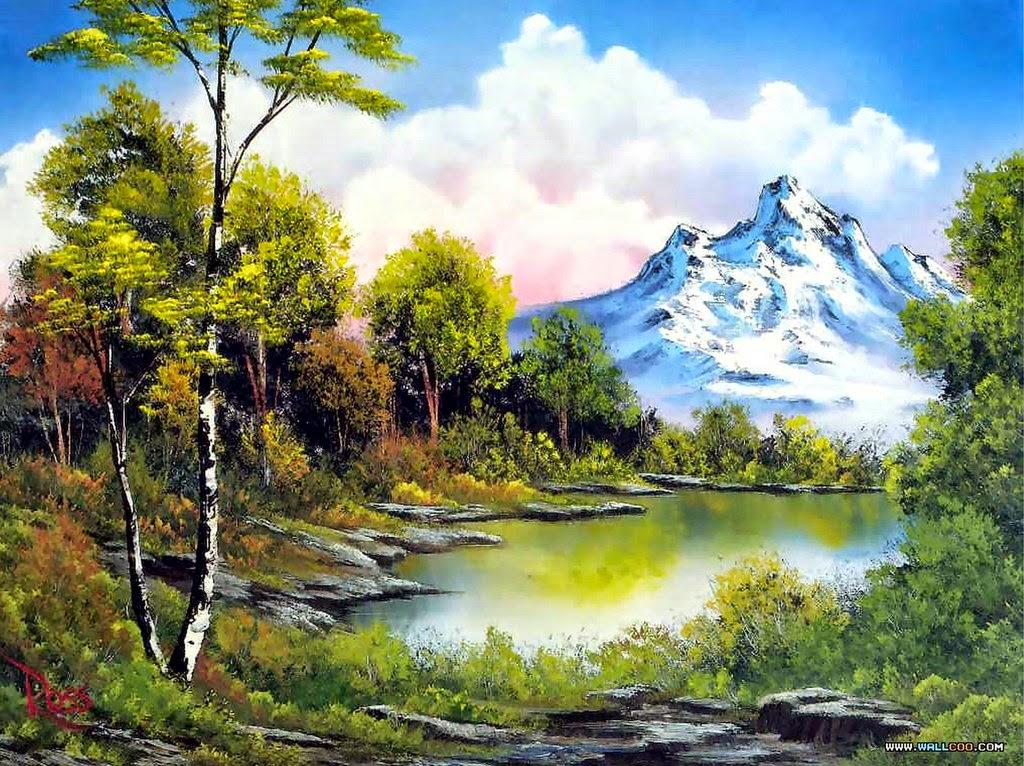 Imágenes Arte Pinturas: Paisajes de Montañas Faciles en