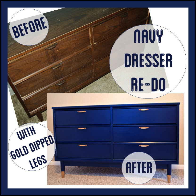 Dipped Furniture Legs: Navy Mid-Century Dresser Re-do With Gold Dipped Legs