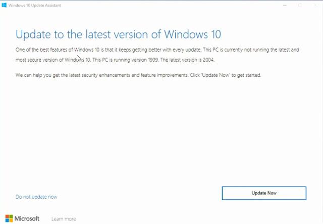 كيفية تحديث ويندوز 10 إلى الاصدار windows 10 version 2004