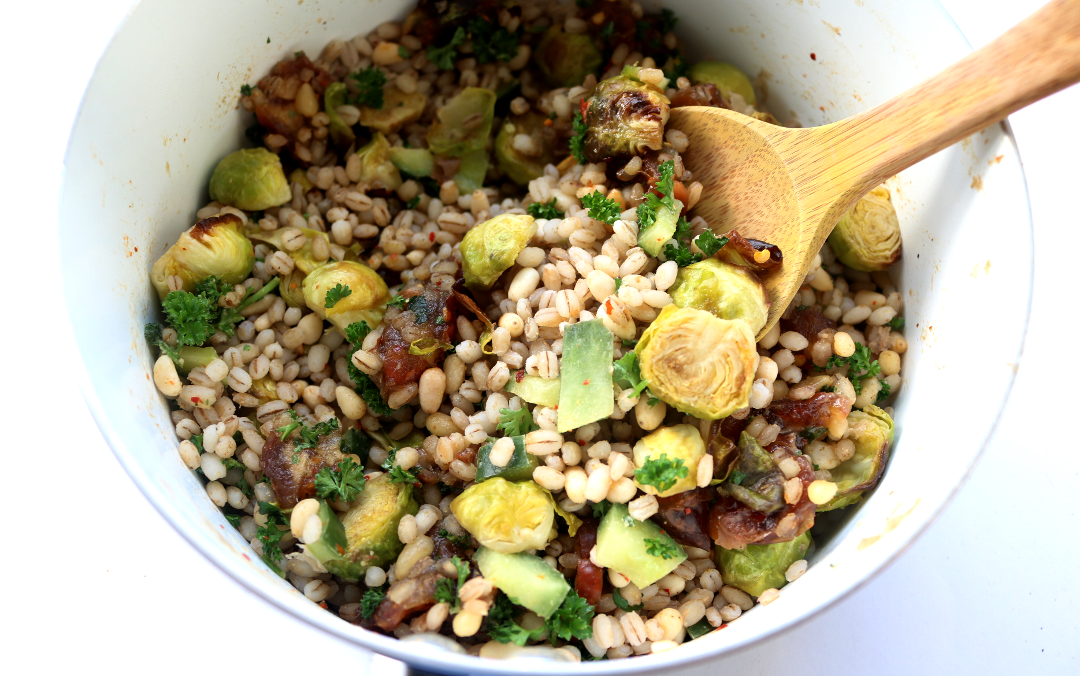 Cumin Roasted Brussels Sprouts with Date & Pearl Barley Salad