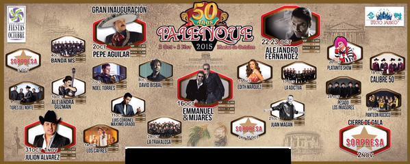 Palenque Fiestas de Octubre 2015 en Guadalajara: Cartelera de Conciertos