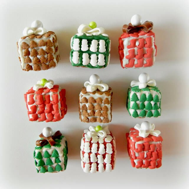 Wrapped Christmas Present Krispie Treats, Sugar Swings