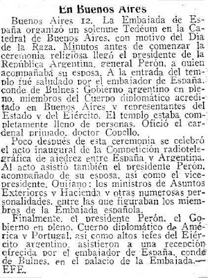 Recorte sobre ajedrez del diario ABC de Sevilla, del 13 octubre 1946