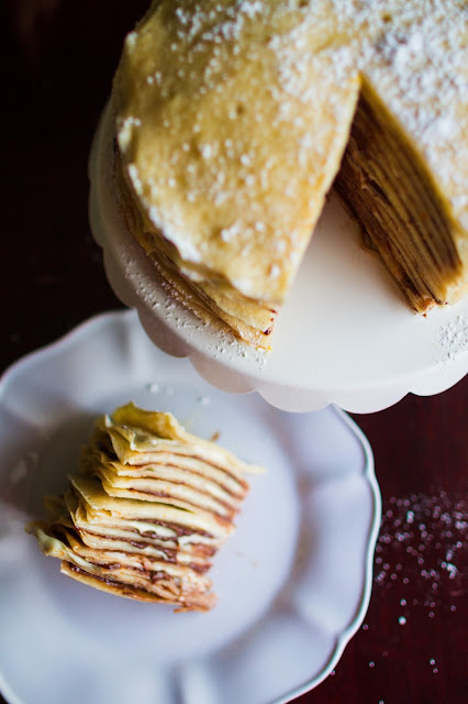 I want a slice of this Orange Cream and Nutella Crepe Cake.  It looks and sounds divine!  Recipe over at mynameissnickerdoodle.com