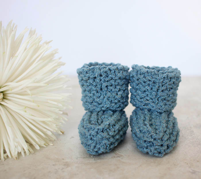 How To Follow A Knitting Pattern : EASY Cuffed Baby Booties Free Knitting Pattern - Gina Michele