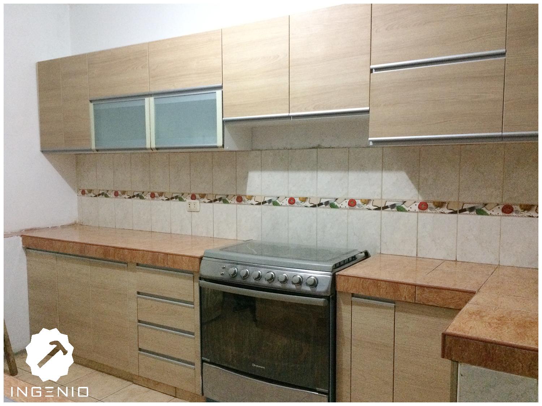 Mueble cocina en melamina carvalo for Mueble cocina 7 segundos