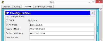 Konfigurasi ip address pada PC