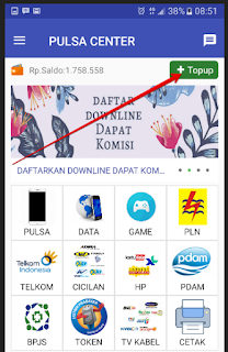 Klik tombol Top Up (Samping kanan atas)