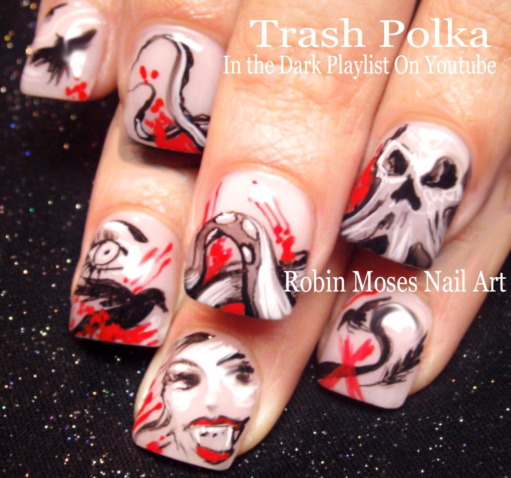 Nail Art By Robin Moses Trash Polka Nails For Halloween Punk Rock