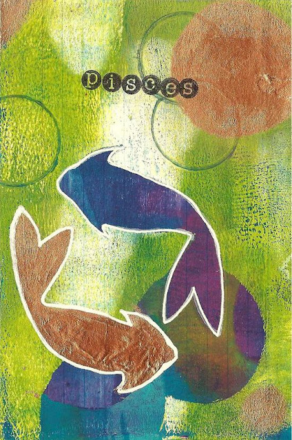Whoopidooings: Carmen Wing - ICAD Index Card a Day - Gelli Printed Pisces