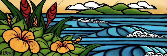 Hawaii tropical surf art by heather brown