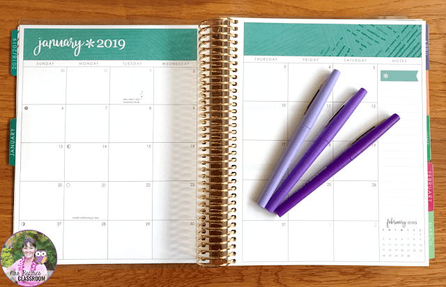 Month-at-a-glance pages in the Erin Condren Life Planner