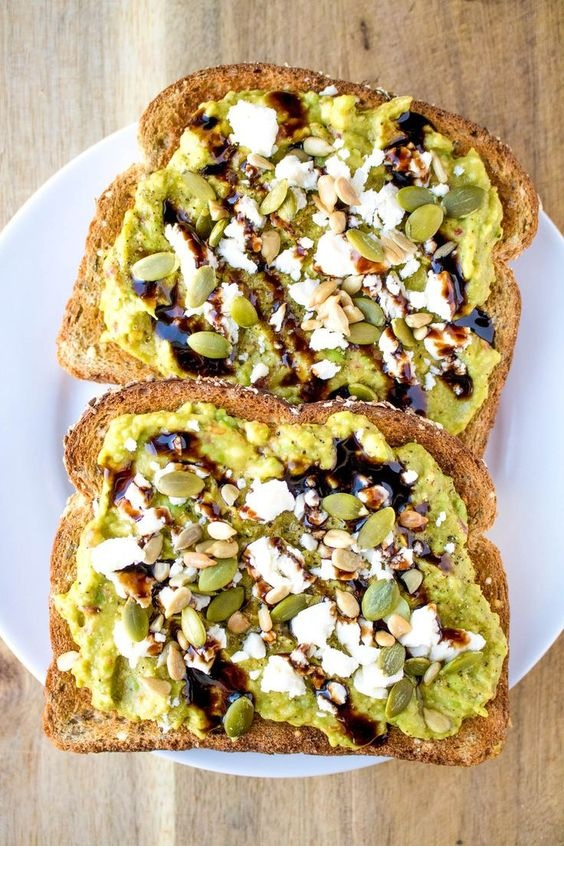 Avocado Toast With Feta Cheese And Balsamic Glaze