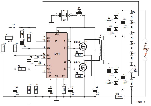 NTE Electronics Circuit: High Voltage Generator