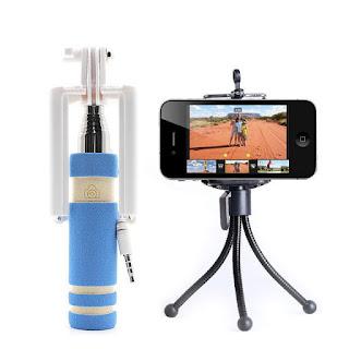 Mini Monopod Selfie Stick Bundle With Mini Tripod Selfie - Blue