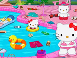 Gambar Hello Kitty Berenang di Kolam Pakai Bikini Terbaru