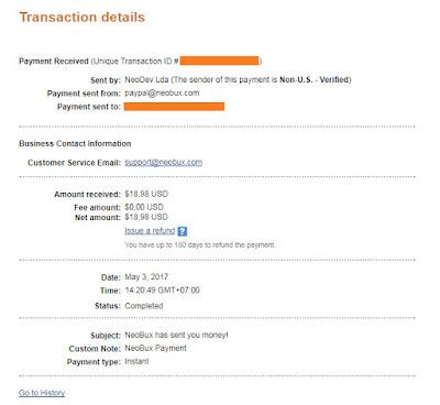 Ini merupakan screenshot bukti pembayaran Neobux pada bulan Mei 2017