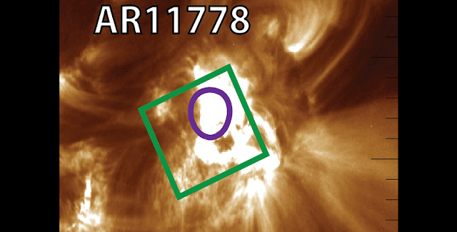 A context image of the Sun during a flare. The active region is highlighted by the green box. Credit: M. Druett et al. / Swedish Solar Telescope (SST)