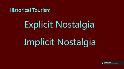 "Title: Historical Tourism. This slide contains in large font the text, ""Explicit Nostalgia"" and ""Implicit Nostalgia."""