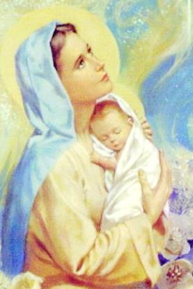 Nuestra Virgen María abrazando a Jesús de bebé