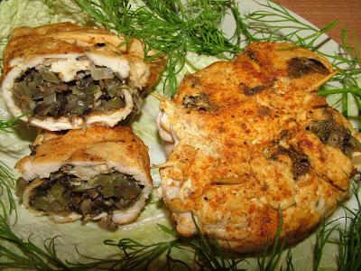 Pieczarkowe sakiewki z kurczaka