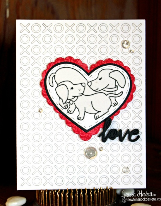 Puppy Love Card by Larissa Heskett | Darling Duos Stamp set by Newton's Nook Designs #newtonsook
