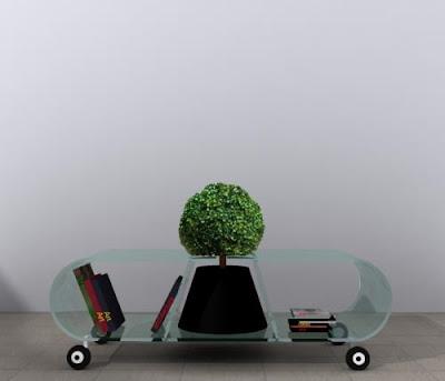 Diseño de mueble con un toque verde.