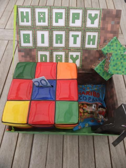 Minecraft Geburtstagsgeschenk aus Schuhkarton