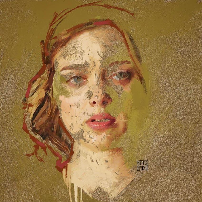 Green eyes girl painting