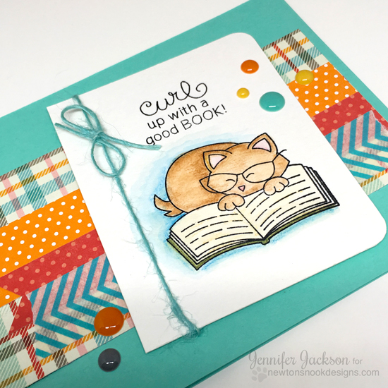 Curl up with a good book Cat card by Jennifer Jackson| Newton's Book Club Stamp set by Newton's Nook Designs #newtonsnook