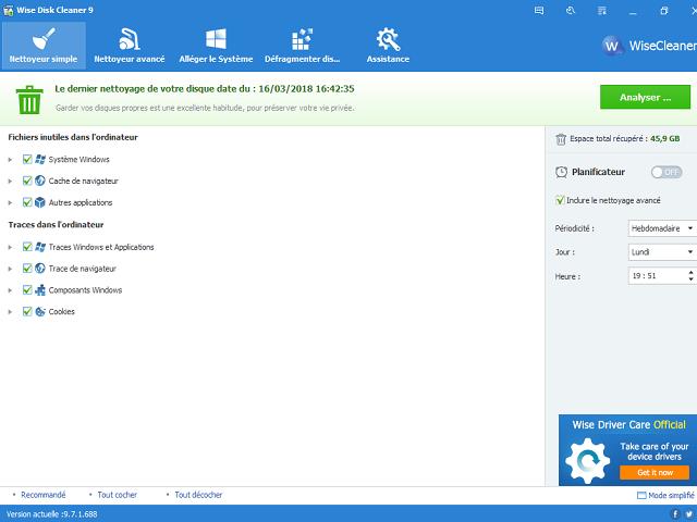 تحميل برنامج  Wise Disk Cleaner 9.7.3.690 لتنظيف وتسريع الكمبيوتر مجانا
