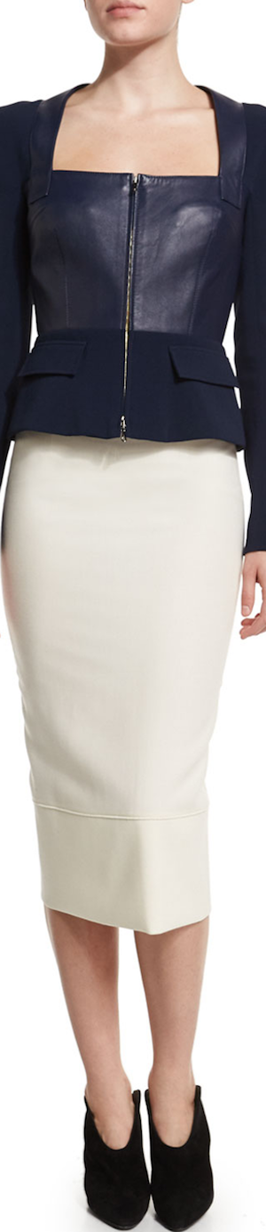 Roland Mouret Galaxy Square-Neck Peplum Jacket, Navy