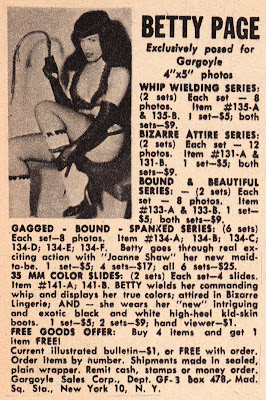 Betty Page holding whip in magazine advertisment