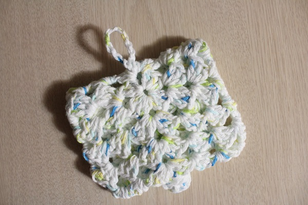crochet, granny square, soap holder, cotton