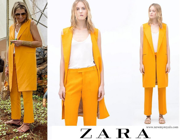 Queen Maxima wore ZARA Vest and Trousers