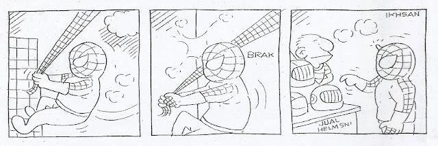 Komik strip Spiderman karya Ikhsan Dwiono. Pernag dipublikasikan di media massa pada 8 Juli 2012.