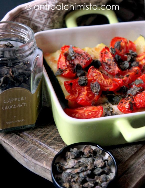 Bastoncini di Zucchine al Vapore con Pomodorini e Capperi Croccanti